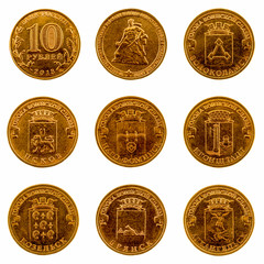 A set of commemorative coins on a white background, 2013