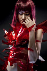 geisha robot with red armor, beautiful young Japanese woman in a