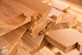 Wooden timber at a sawmill - 83360252