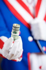 Patriotic: Holding Out Roll Of Cash