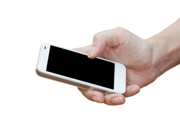 Hand holding smart phone isolated over white background