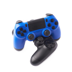Two gaming console controllers isolated