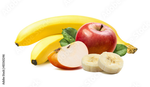 Banana and apples isolated on white background