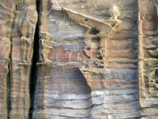Sandstone texture in Siq Canyon, Jordan