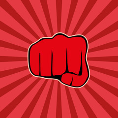 Fist on red background, vector