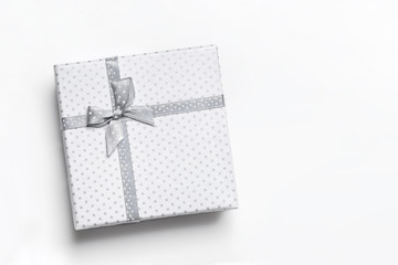 White gift box isolated top view