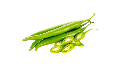 chili pepper green  isolated on a white background