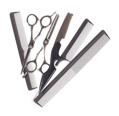 Professional hairdresser tools isolated on white - Stock image