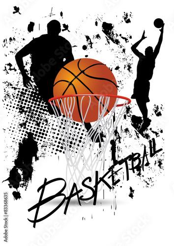 obraz lub plakat koszykarz w akcie na białym tle grunge