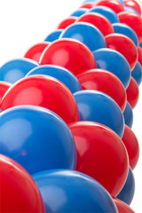 Red and Blue balloon background at a party
