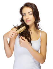 Young girl with haircomb