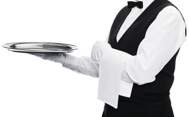 Waiter on white background