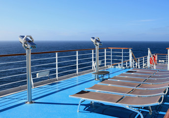 Walking deck of cruise liner