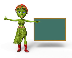Green Girl with school black board giving a thumbs up