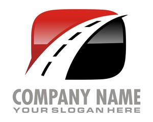 black red highway logo image vector