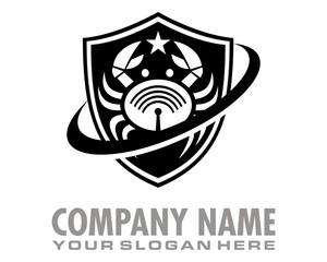 signal shield crab logo image vector