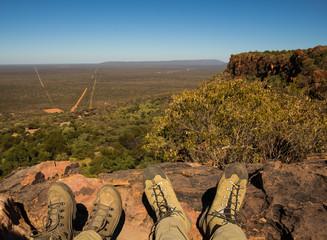 Two Hiker Shoe Pairs on Waterberg Plateau, Otjozondjupa, Namibia