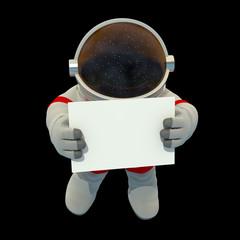 Astronaut mit Schild