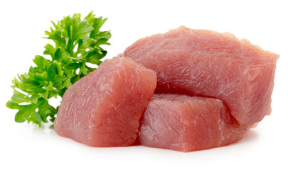 fresh meat slices isolated on the white background