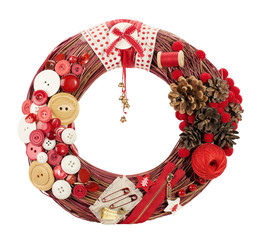 Christmas wreath decorated by cloth buttons
