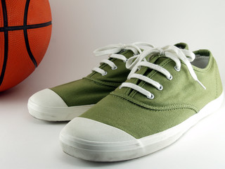 Green Canvas shoes with basketball