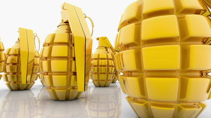 Abstract Hand grenades in gold color