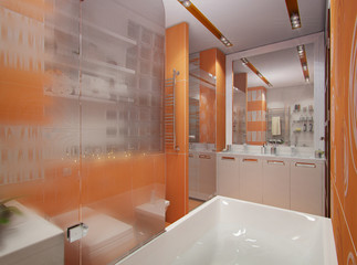 3D illustration of a bathroom in orange color