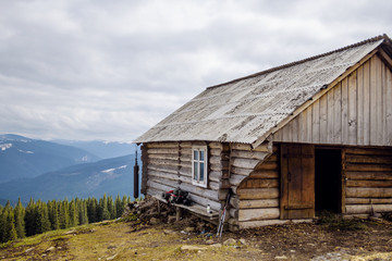 small cabine in mountains