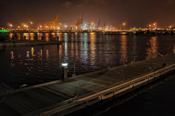 Marine docks at night