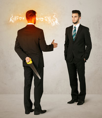 Angry businessman with weapon