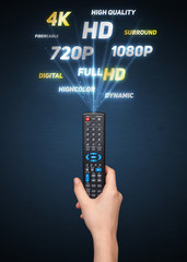 Hand with remote control and multimedia properties