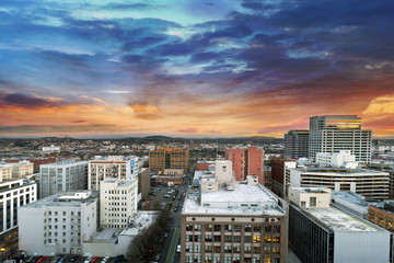 Sunset Over Portland Oregon Cityscape