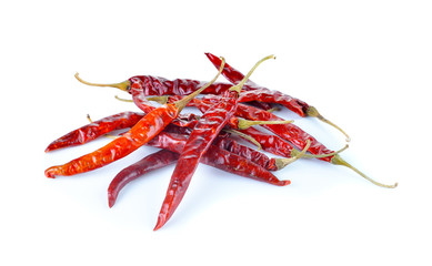 dried red chili pepper on white background