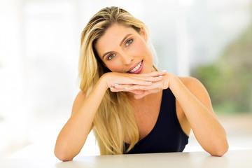 caucasian woman relaxing at home
