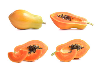 ripe papaya fruit on white background