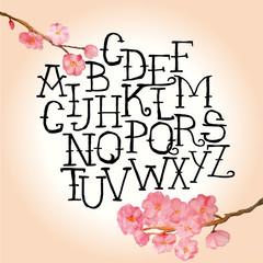 Vector handwritten alphabet. Watercolor flower.