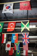 Flying flags  to be seen at the ceiling
