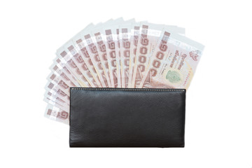 Thai money banknotes with wallet