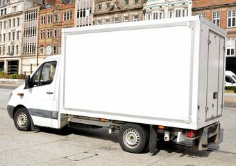 White removal van with copy space