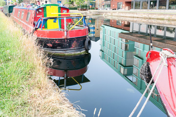 Brightly colored canal boat in London England