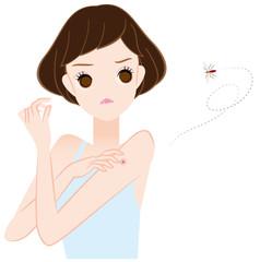 蚊に刺された女性