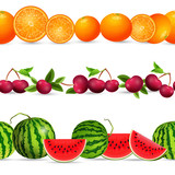 collection seamless borders with fruits on white background. cit