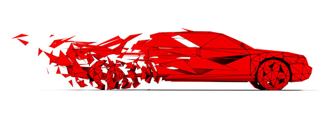 Low-poly red car