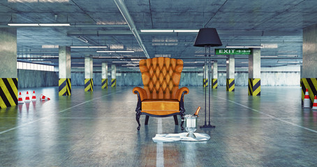 luxury armchair in a urban empty parking