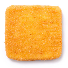 Golden square fried cheese isolated from above.