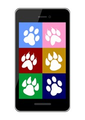 vector illustration dedicated to the pet trails and smart phone.