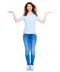 Happy woman with presentation gesture.