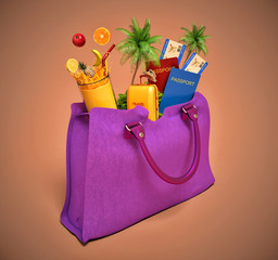 vacation concept. lady's bag and palm trees with fruit and juice