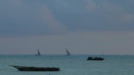 Traditional wooden boats at sunrise, Zanzibar island