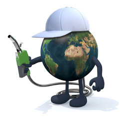 earth with fuel pump, 3d illustration